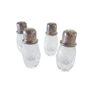 Crystal and Silver Salt & Pepper Shakers- Set of 4