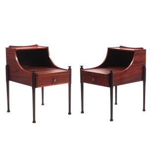 Sculptural Pair of Rosewood and Brass Nightstands