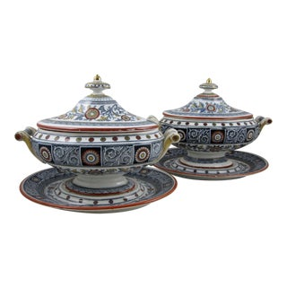 Mintons Staffordshire Transferware 3-Piece Sauce Boats - A Pair
