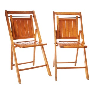 Vintage American Rustic Wood Folding Chairs - A Pair