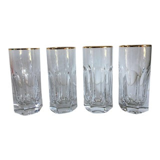 Crystal High Ball Gold Rimmed Glasses - Set of 4