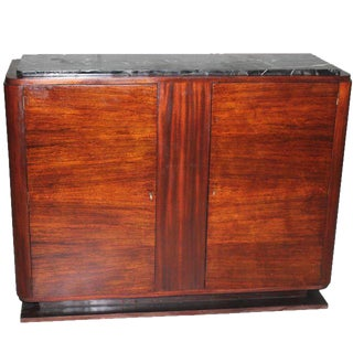 French Art Deco Macassar Ebony Sideboard /Bar Marble Porto top Circa 1940 s