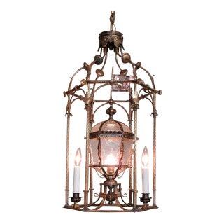 19th Century Italian Venetian Gilt Tole Lantern with Oil Lamp