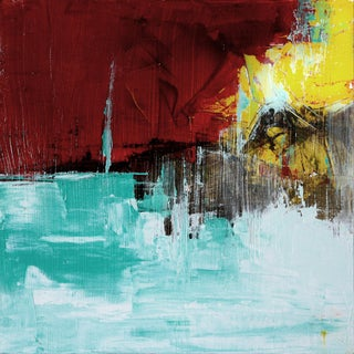 Paul Ashby Abstract Modern Turquoise & Red Oil Painting