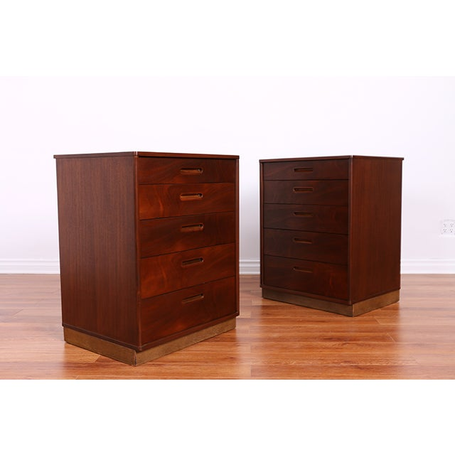 Mid Century Walnut Chests for Dunbar - Pair - Image 3 of 6