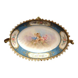 19th Century French Hand-Painted Oval Porcelain Sèvres Tray With Bronze Mounts