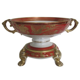 Vintage White, Orange and Gold Tazza with Paw Feet