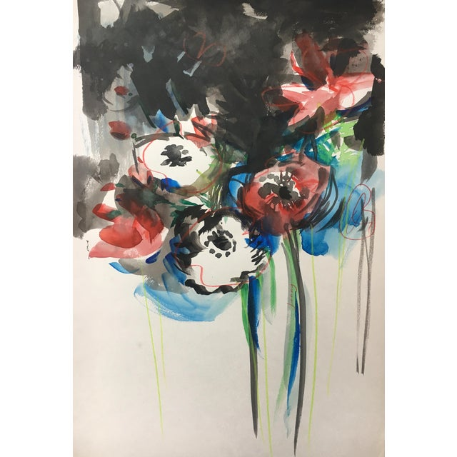 Jenny Vorwaller Red Poppies Watercolor Painting - Image 1 of 3