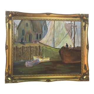 Oil on Board Painting of Boats