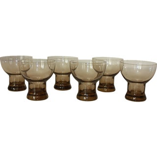 Mid-Century Modern Smoked Glasses - Set of 6