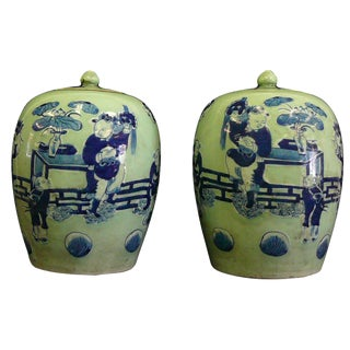 Chinese Celadon Green & Blue Porcelain Jars - A Pair