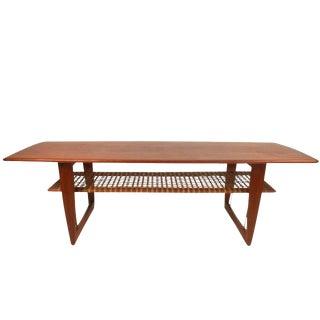 Peter Hvidt Style Teak Cane Shelf Coffee Table