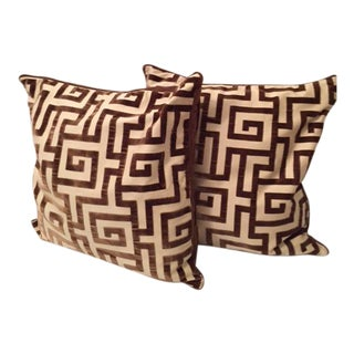 "Clarence House Brown ""Labyrinth"" Geometric Pillows - A Pair"