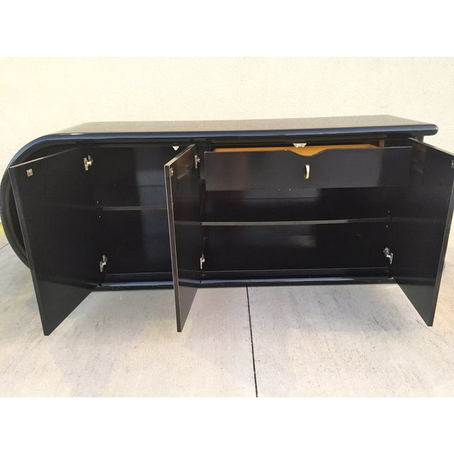 Curved Black Lacquer Credenza - Image 8 of 11