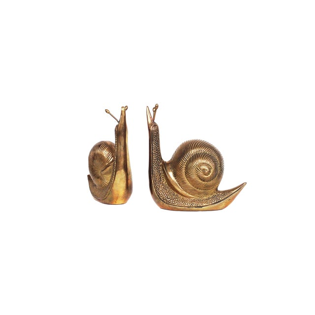 Image of Vintage Brass Snail Bookends - A Pair