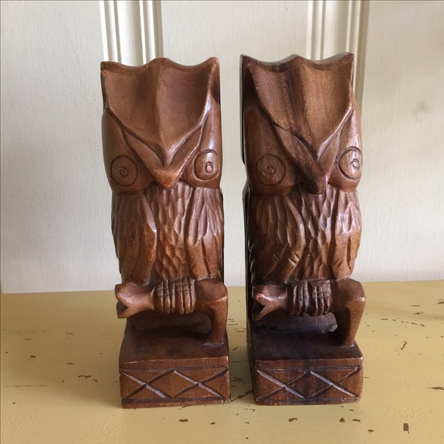 Vintage Rustic Carved Owl Bookends - A Pair - Image 3 of 10
