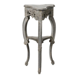 Small French Blue Grey Trefoil Side Table
