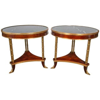 Maison Jansen Style Marble-Top Bamboo Form Bouillotte Tables - Pair