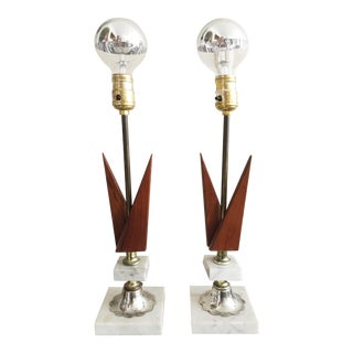 Mid-Century Marble and Walnut Lamps - A Pair