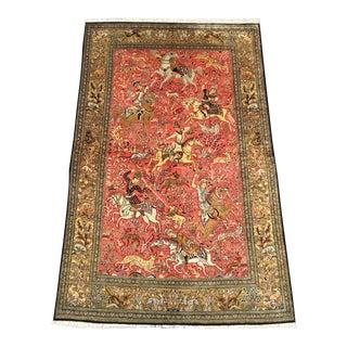 Silk Shah Abbasi Quoom Area Rug - 4x5 x 7.2