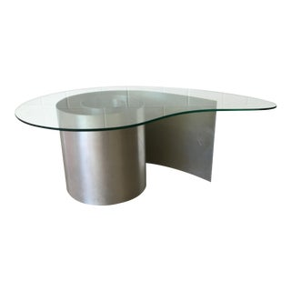 Vladimir Kagan Aluminum and Glass Nautilus Coffee Table