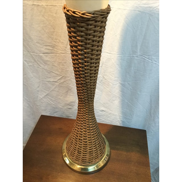 Modeline Brass and Rattan Modern Table Lamp - Image 8 of 9