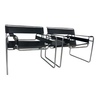 Marcel Breuer Black Leather Chrome Wassily Chairs - A Pair