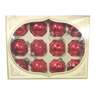 Vintage Red Shiny Bright Glass Ornaments-Set of Twelve