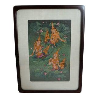 """Nang Kwak, the Summoning Lady"" Thai Painting"