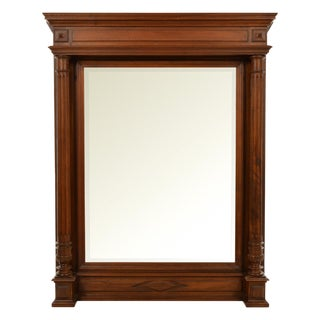 19thC French Overmantel Wall Mirror with Walnut Frame