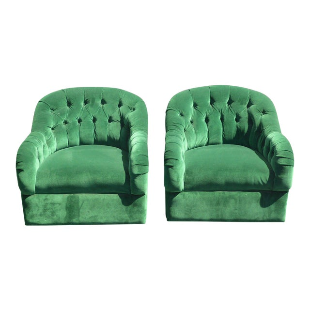 Vintage Pair of Mid Century Modern Tufted Green Velvet Swivel Club Chairs - Image 1 of 11