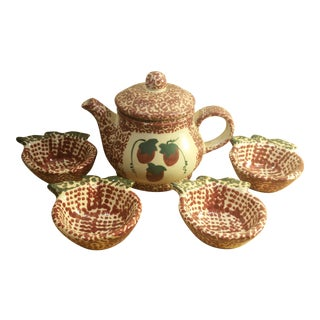 Ceramic Speckled Strawberry Motif Pitcher & Bowls - Set of 5