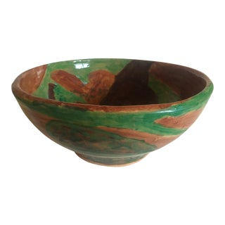 Moise Gross Green & Brown Ceramic Bowl