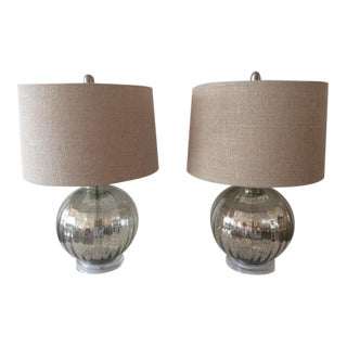 Vintage Mirrored Fleck Ball Form Table Lamps - A Pair