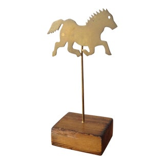 Vintage Brass & Wood Horse Desk Ornament