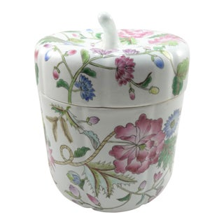 Chinese Hand Painted Pink Floral Porcelain Lidded Melon Jar
