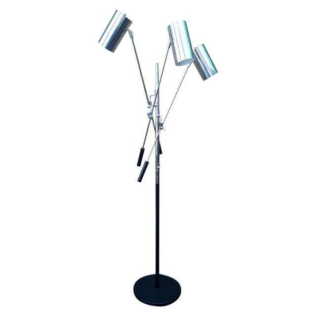 mid century chrome 3 arm adjustable floor lamp chairish. Black Bedroom Furniture Sets. Home Design Ideas