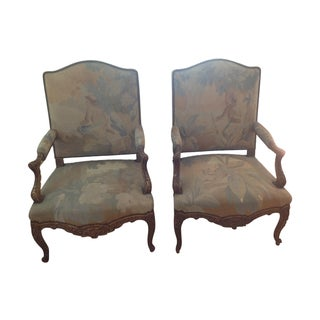 18th C. French Gilt Carved Armchairs - A Pair