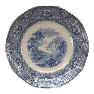 Antique Staffordshire Victorian Blue & White Transfer Ware Dinner Plate