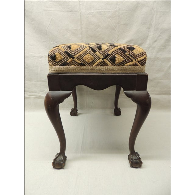 Antique African Textile Upholstered Bench - Image 4 of 5