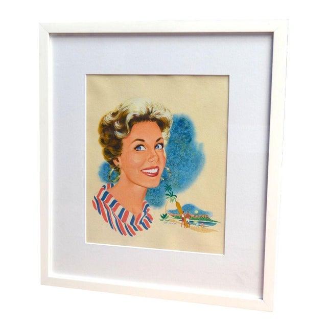 Hap Frazer Smiling Lady Gouache Illustration - Image 1 of 4