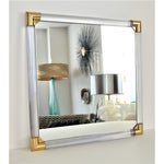 Image of Mid-Century Modern Lucite & Brass Wall Mirror Charles Hollis Jones Style