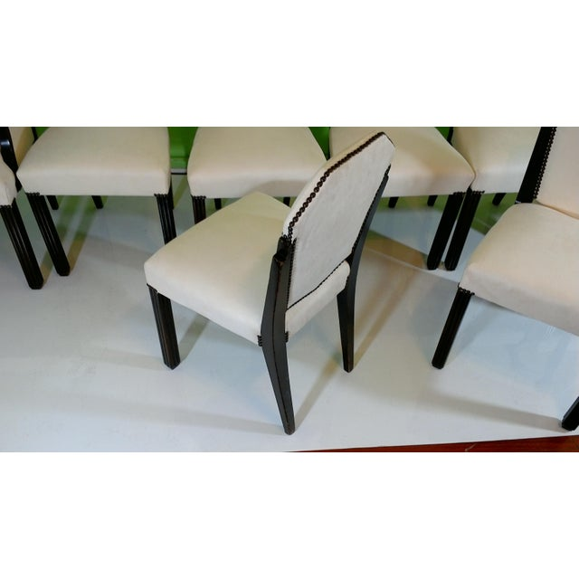 White Suede Deco Dining Chairs - Set of 8 - Image 11 of 11