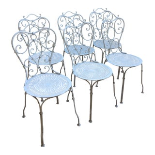 White Wrought Iron Patio Chairs - Set of 6