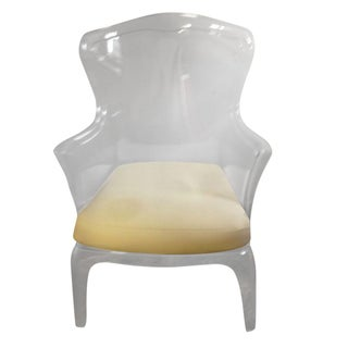Italian Clear Lucite Wingback Chairs - A Pair