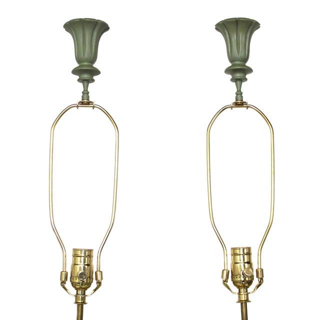 Image of Procelain Figural Asian Lamps - Pair