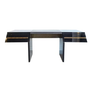 Italian Modern Black Lacquer and Zebrawood Desk, Giovanni Offredi for Saporiti