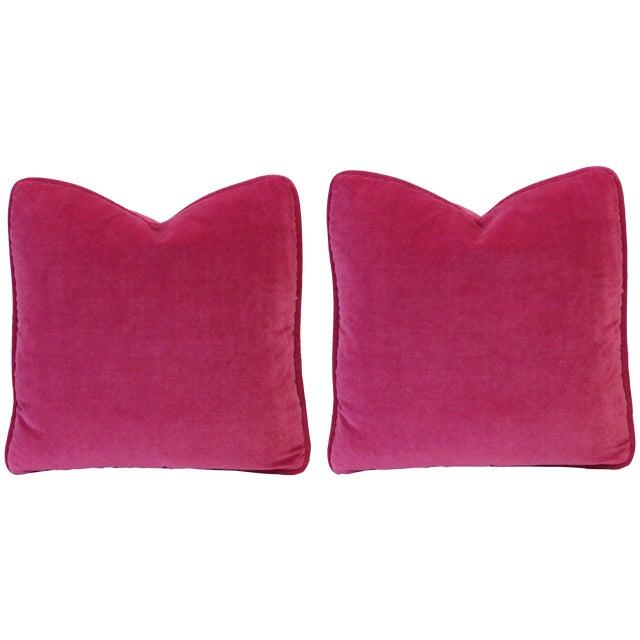 Image of Fuschia Pink Velvet Pillows - Pair