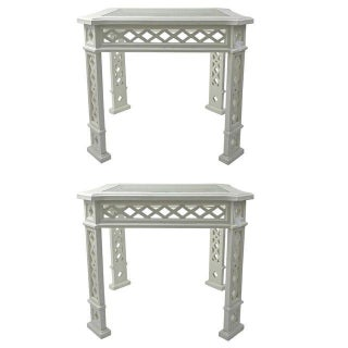 1960s White-Lacquered Side Tables - A Pair