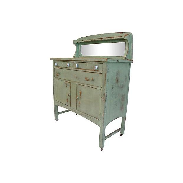 Distressed Green Mirror Hutch - Image 2 of 6